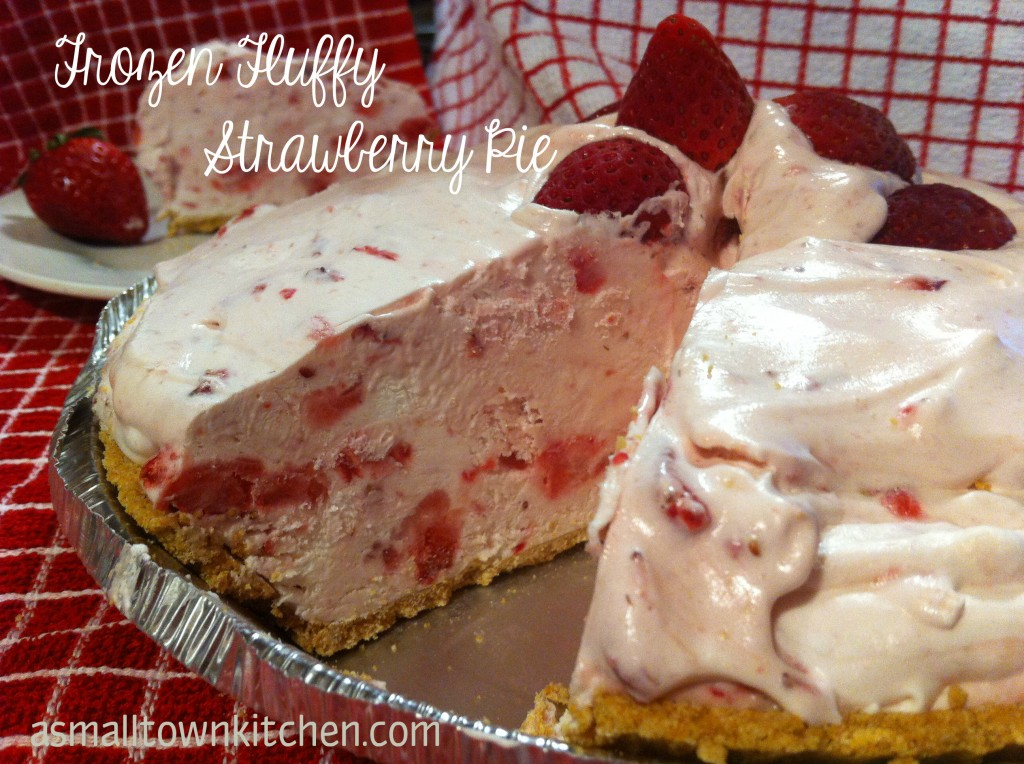 Frozen Fluffy Strawberry Pie | A Small Town Kitchen